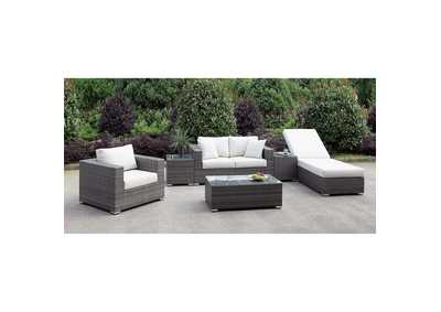 Somani Light Gray/Ivory Wicker Patio Set (Loveseat, Chair, Adj Chaise, 2 End Tables & Coffee Table)