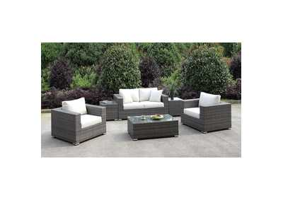 Somani Light Gray/Ivory Wicker Patio Set (Loveseat, 2 Chair, 2 End Tables & Coffee Table)