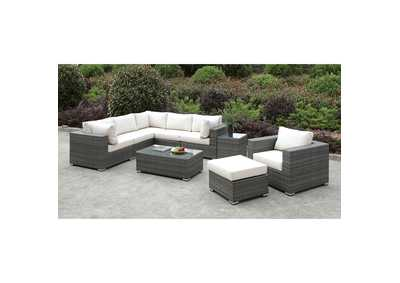 Somani Light Gray/Ivory Wicker L-Sectional w/Chair, Ottoman & Coffee Table