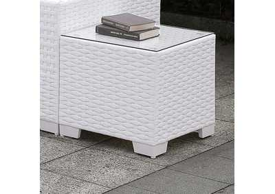 Image for Somani White Wicker/White Cushion End Table