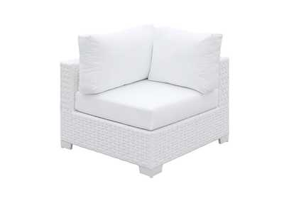 Somani White Wicker/White Cushion Armless Chair