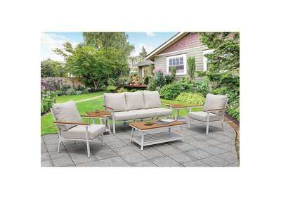 Anishan White/Oak 6 Piece Patio Set