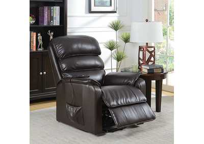 Image for Flip Dark Brown Leatherette Power Recliner
