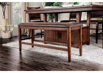 Wichita Distressed Dark Oak Counter Height Bench,Furniture of America