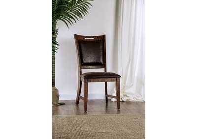 Wichita Distressed Dark Oak Side Chair [Set of 2],Furniture of America