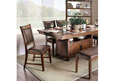 Wichita Distressed Dark Oak Dining Table,Furniture of America