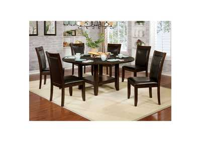 "Maegan I Brown Dining Table w/18"" Lazy Susan"