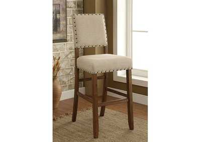 Sania II Rustic Oak/Ivory Upholstered Counter Chair (Set of 2),Furniture of America