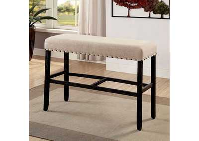 Sania II Antique Black/Beige Bar Height Bench,Furniture of America