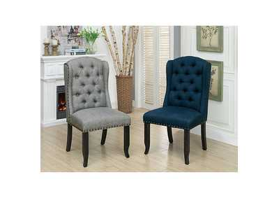 Sania I Antique Black/Blue Upholstered Side Chair (2/Box),Furniture of America