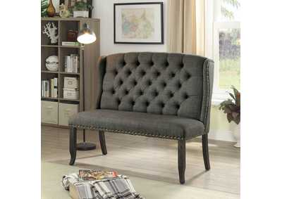 Image for Sania Antique Black 2-Seater Loveseat Bench