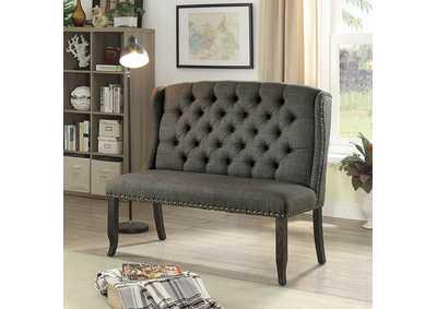 Sania Antique Black 2-Seater Loveseat Bench