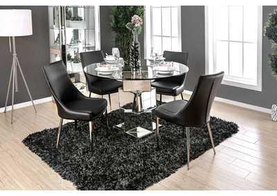 Izzy Glass/Chrome Dining Table,Furniture of America