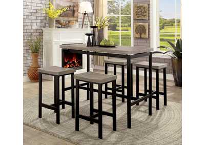 Vilvoorde Natural Tone/Gray 5 Piece Counter Table Set