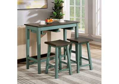Image for Elinor Antique Teal Bar Table Set