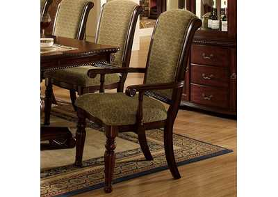 Majesta Dark Cherry Finish Arm Chair [Set of 2]