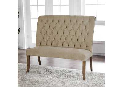 Sania Beige Loveseat Bench