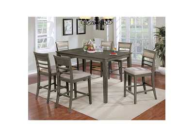 Fafnir Gray 7 Piece Counter Table Set,Furniture of America