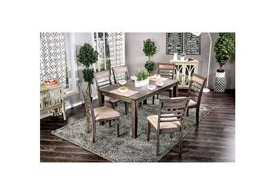 Taylah Weathered Gray 7 Piece Dining Table Set