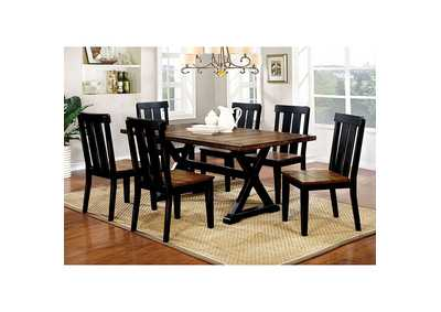 Alana Antique Oak/Black Dining Table