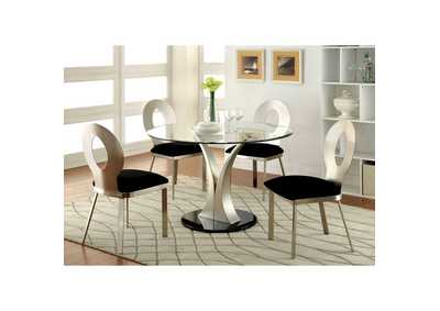 Valo Silver/Black Dining Table w/Glass Top