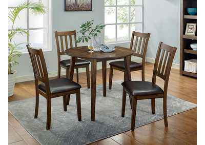 Image for Blackwood Walnut 5 Piece Round Table Set