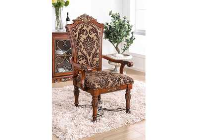 Lucie Brown Cherry Arm Chair [Set of 2],Furniture of America