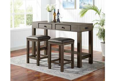 Image for Gualde Wire-Brushed Dark Oak 3 Piece Counter Height Dining Set
