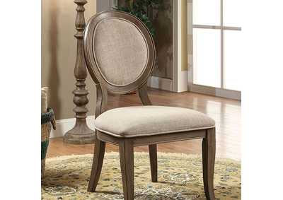 Kathryn Rustic Oak/Beige Upholstered Side Chair (Set of 2)