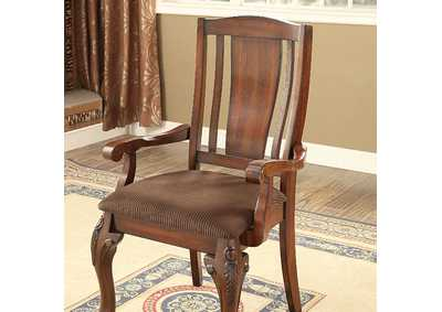 Johannesburg Brown Cherry Arm Chair [Set of 2],Furniture of America