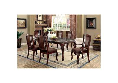 Johannesburg I Brown Dining Table w/Faux Marble Top