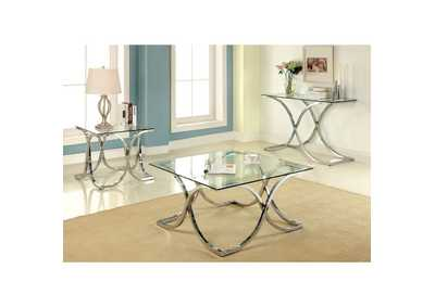 Image for Luxa Chrome Tempered Console Table w/Curved Legs