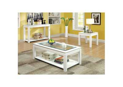 Image for Venta White Lacquer Console Table w/Open Shelf