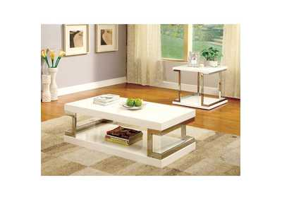 Image for Meda White Lacquer Coffee Table w/Chrome Frame Accents