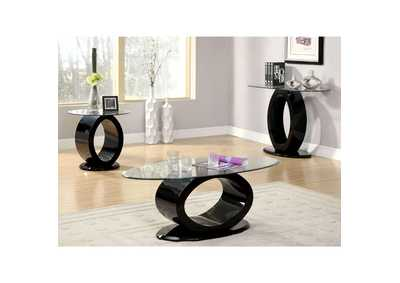 Image for Lodia lll Black Lacquer End Table w/O-Shaped Base