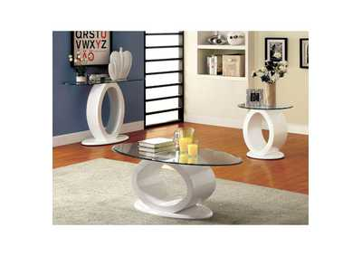 Image for Lodia lll White Lacquer End Table w/O-Shaped Base