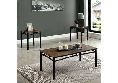 Potlatch Antique Brown 3 Piece Table Set,Furniture of America