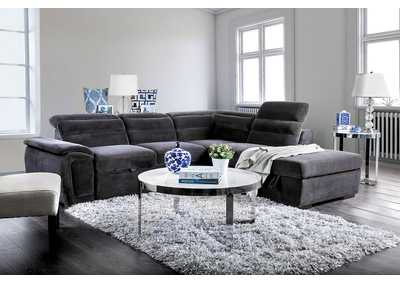 Image for Felicity Gray Chenille Sectional w/Storage Ottoman