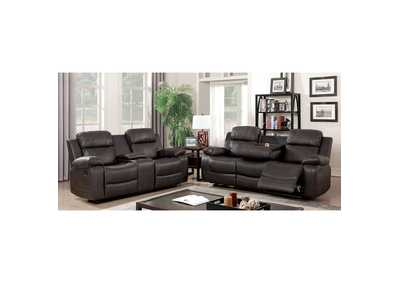 Pondera Dark Brown Loveseat,Furniture of America