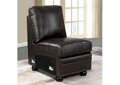 Edith Dark Brown Armless Chair