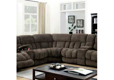 Irene Brown Reclining Sectional,Furniture of America