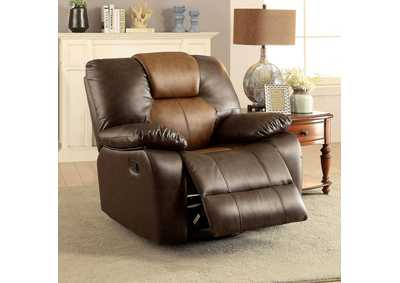 Pollux Dark Brown/Light Brown Recliner,Furniture of America