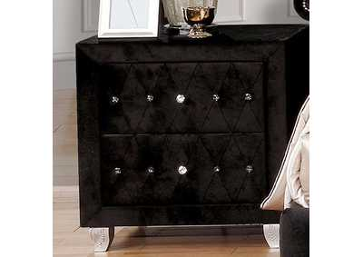 Alzire Black Nightstand,Furniture of America