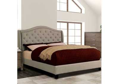 Image for Carly Warm Gray Upholstered Queen Platform Bed