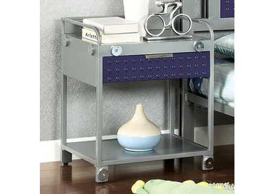 Image for Prado I Silver & Dark Blue Nightstand