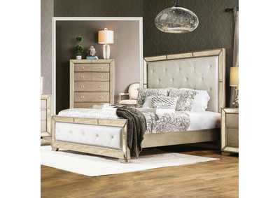 Loraine Silver Upholstered Queen Platform Bed w/Antique Mirror Panels