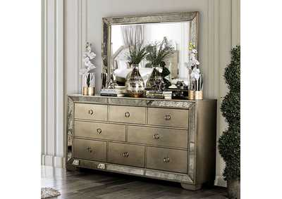 Image for Loraine Silver Dresser w/Antique Mirror Panels