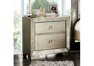Image for Loraine Silver Nightstand w/Antique Mirror Panels