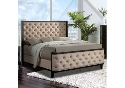 Image for Chanelle Ivory Eastern King Upholstered Platform Bed w/Espresso Wood Trim