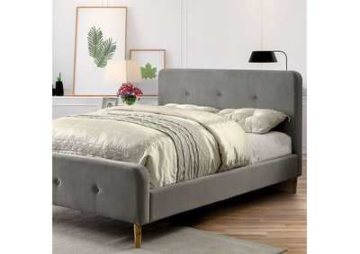 Image for Barney Gray Queen Upholstered Platform Bed